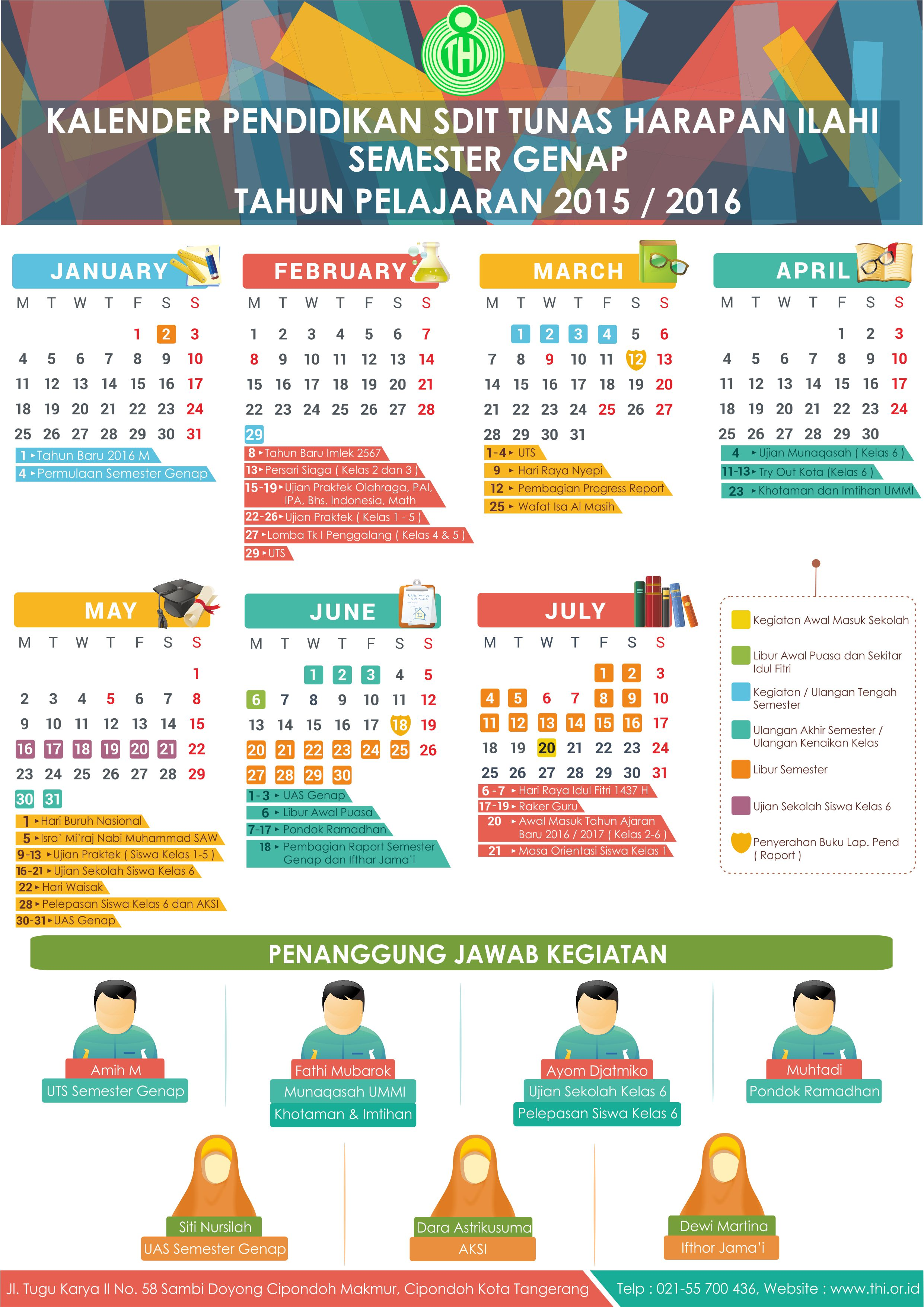 Kalender Pendidikan SDIT THI Semester Genap 2015/2016